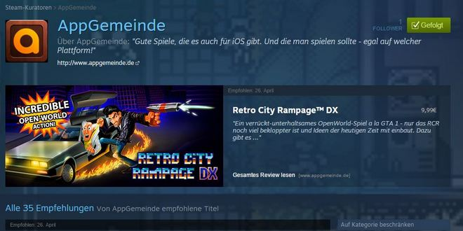 AppGemeinde Steam Kurator