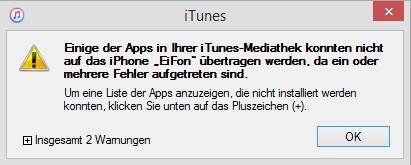 iTunes Fehler Synchronisierung