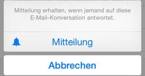 iOS 8 Mail Mitteilung