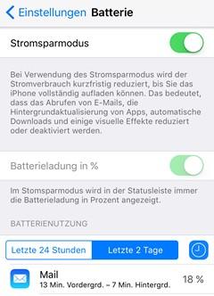 iOS 9 Stromspar Modus