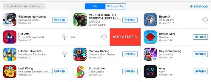 iOS Apps ausblenden