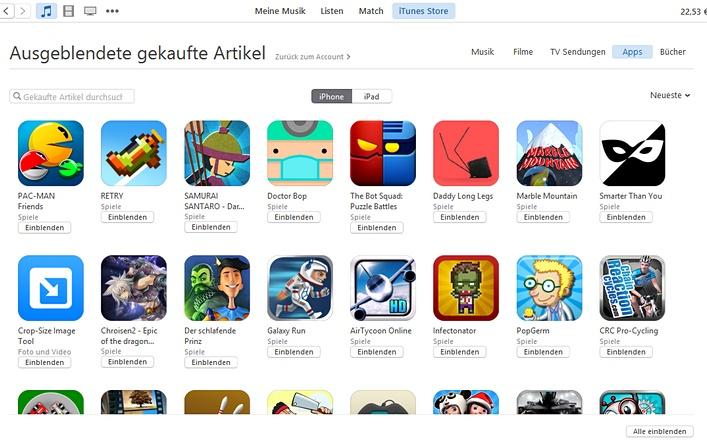 iTunes Apps einblenden