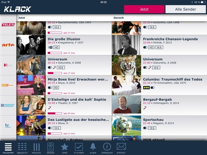 Klack – Die App für den schnellen Fernsehprogramm-Überblick