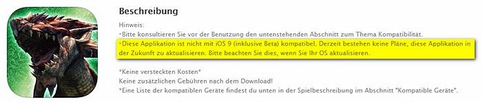 Monster Hunter United iOS9