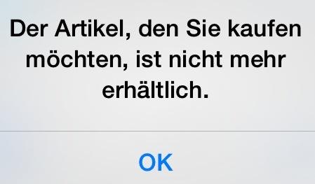 Artikel nicht mehr erhältlich iOS